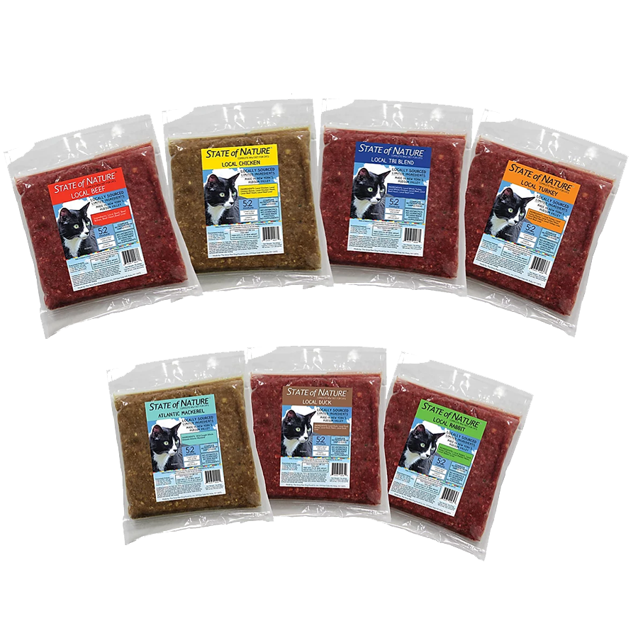 Raw Cat Food Beef Chicken Turkey Tri-Blend (Turkey, Chicken, Beef) Rabbit Duck Atlantic Mackerel