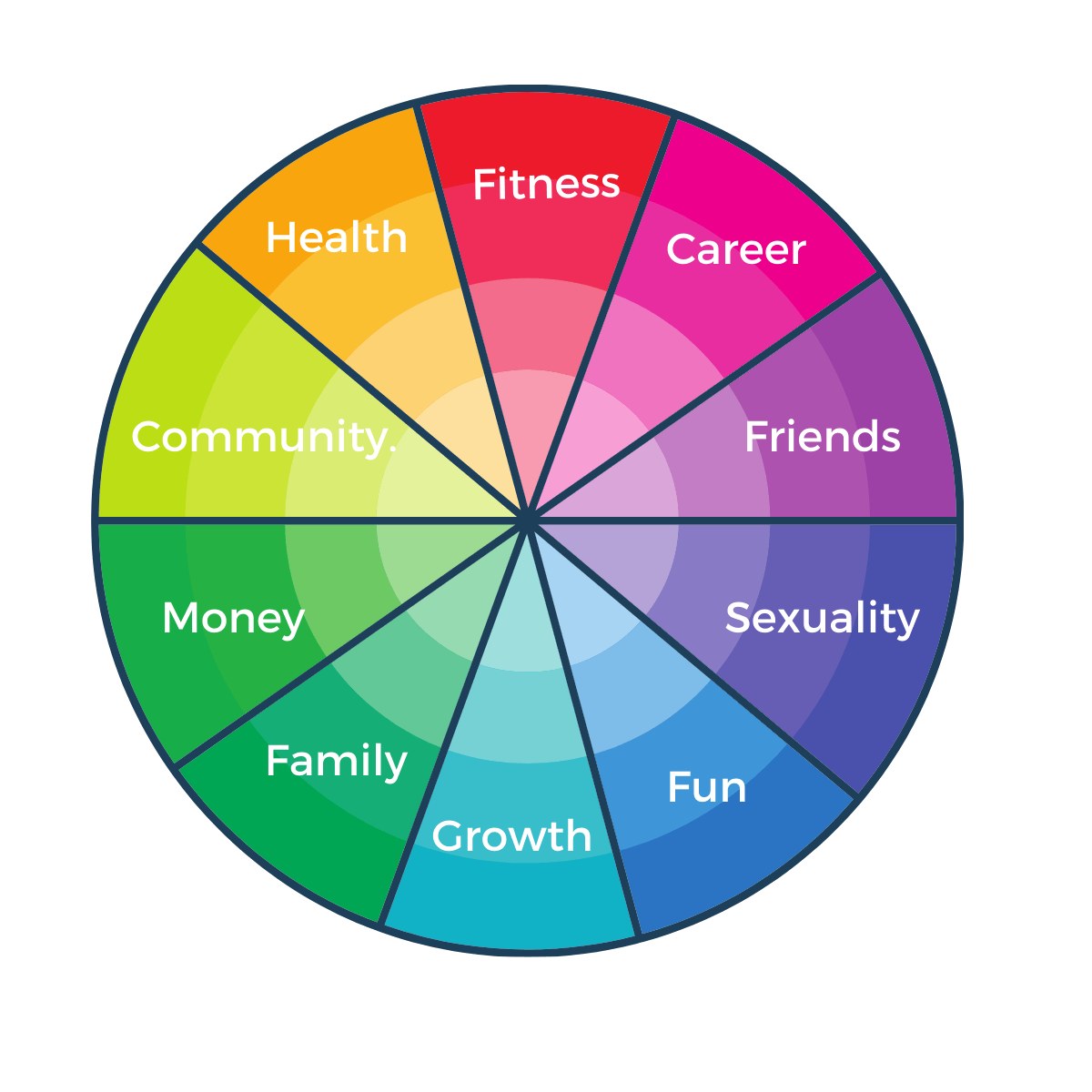 10 sections of the Wheel of Life