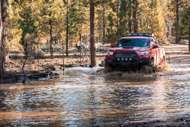 Toyota Tacoma in the water with Milestar Patagonia MTs
