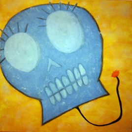 Explosive (oils, acrylics on canvas 20 x20 x.75)