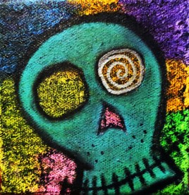 Bewilder (oils, acrylics, chalks on canvas 4 x 4 x.75)