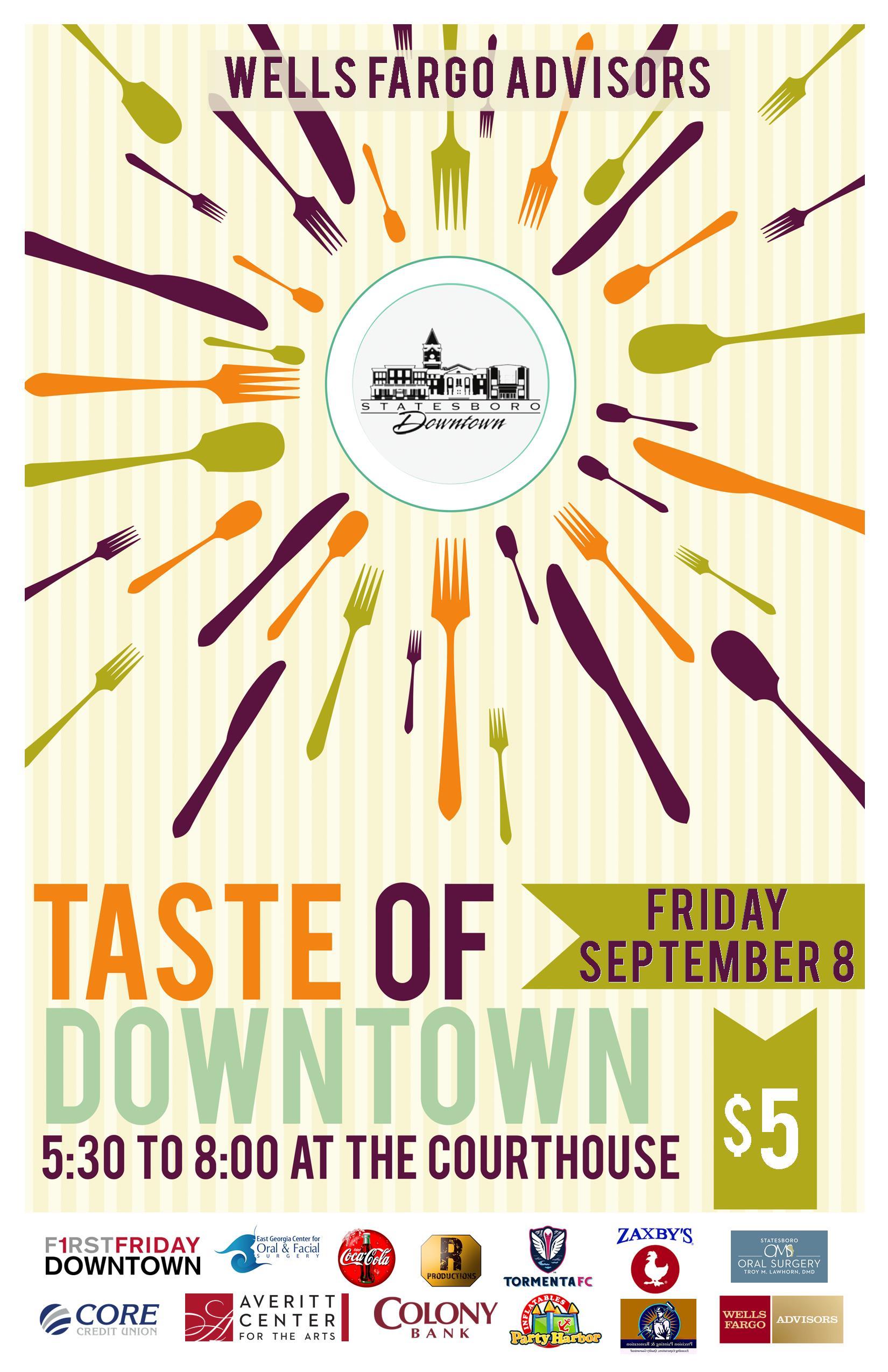 Wells Fargo Taste of Downtown Set for September 8, 2017