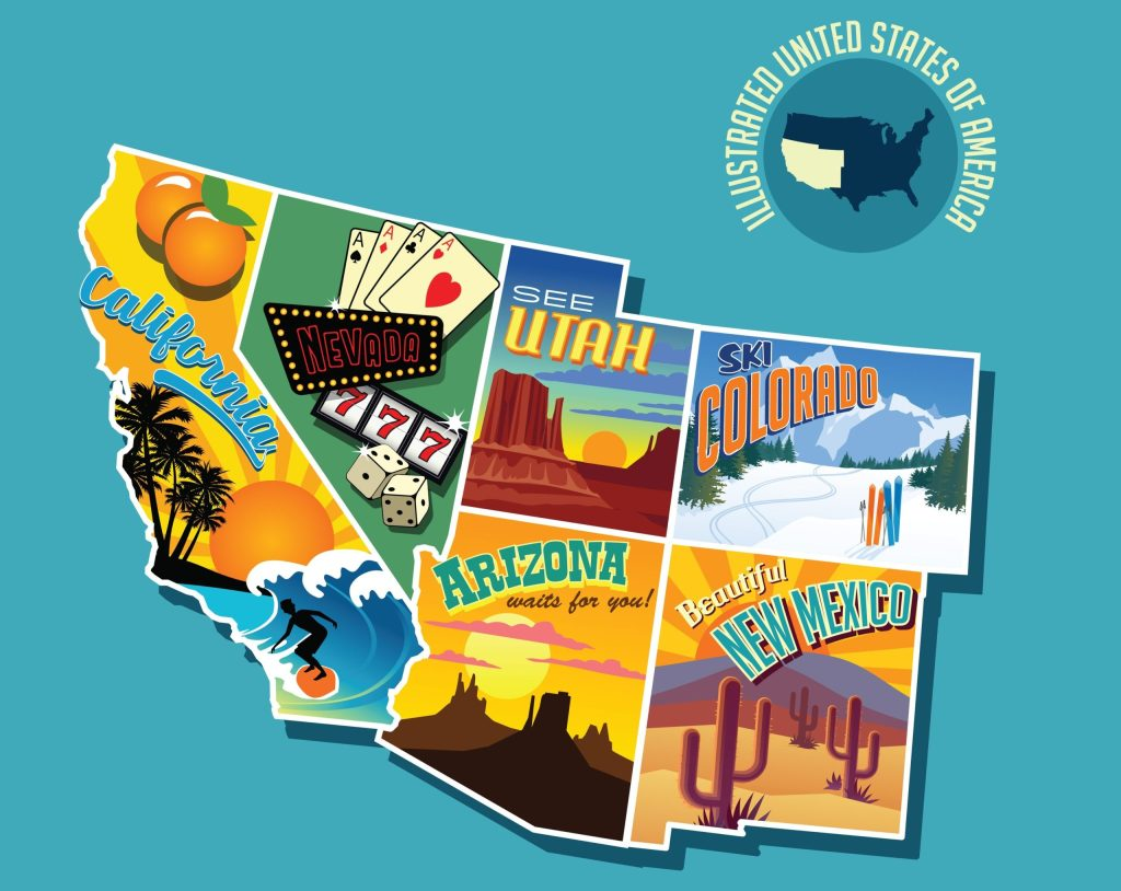STATES ONLINE CASINO - SOUTHWEST USA MAP OF STATES WITH LEGAL SPORTS BETTING