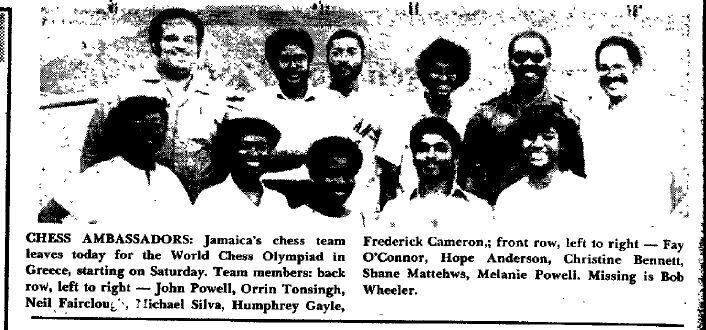 With Jamaica's Chess Team - 1988