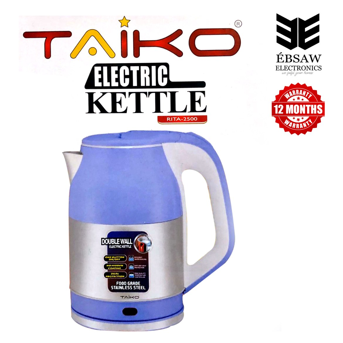 TAIKO Electric Kettle Double Wall 2.5L - RITA-2500: Buy Sell Online @ Best  Prices in SriLanka | Daraz.lk