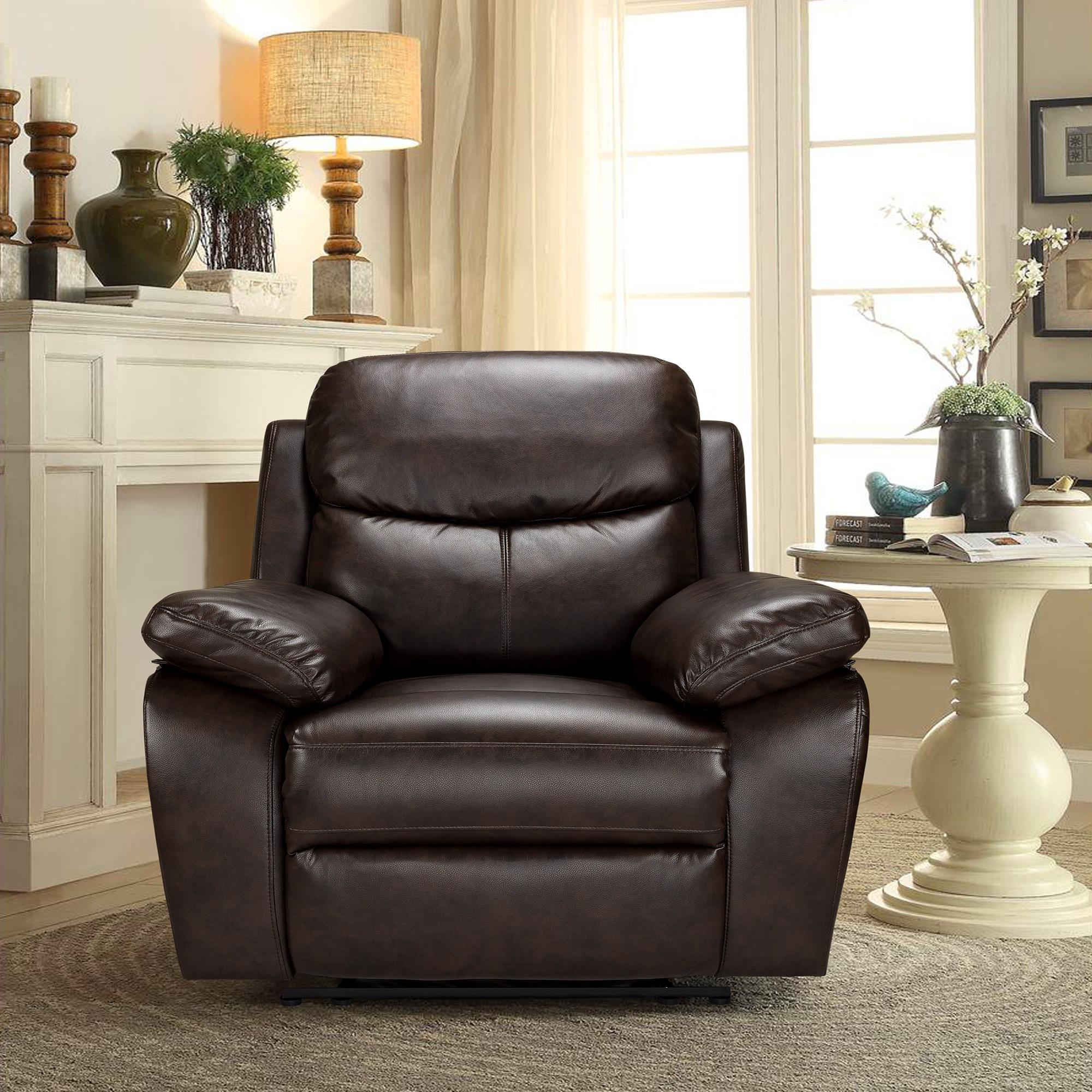 imported brown single recliner sofa pu leather