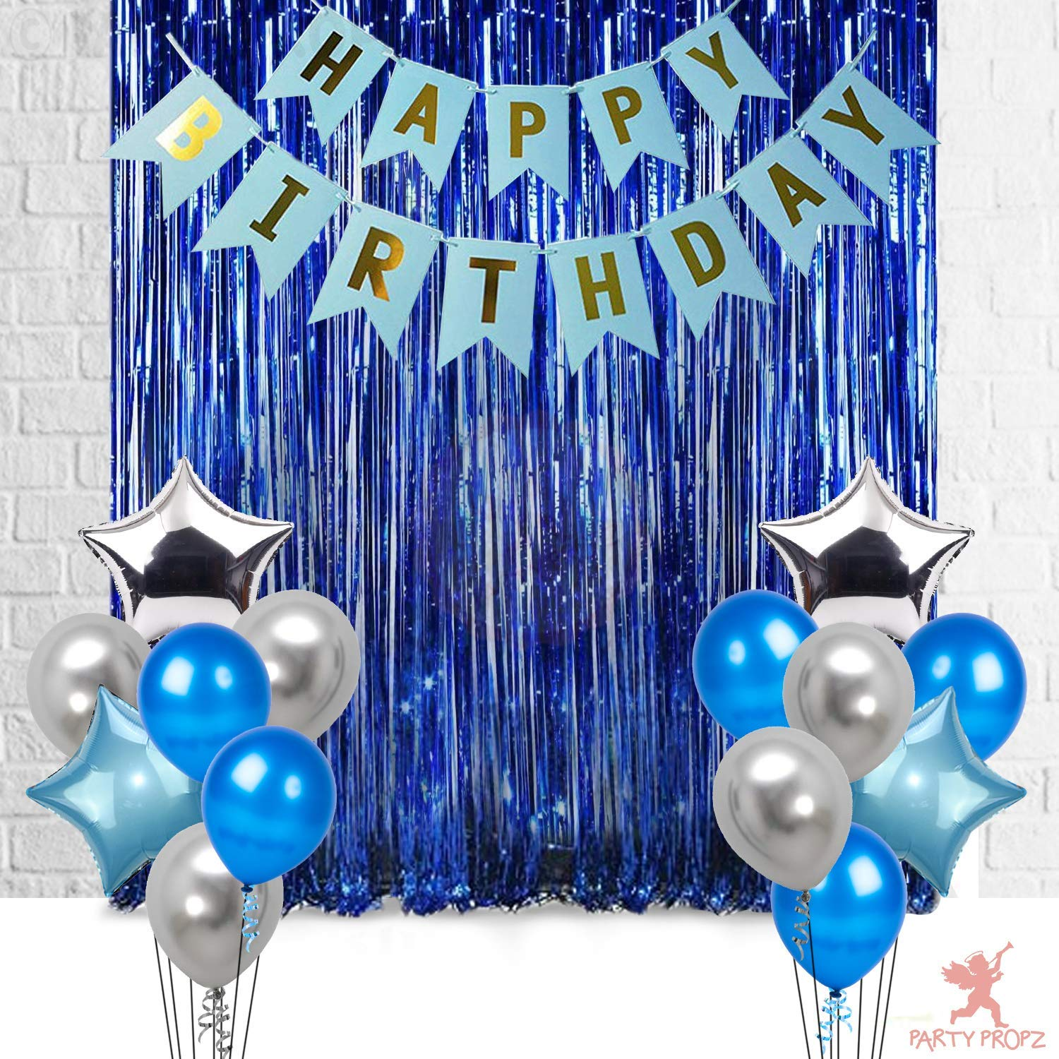 17pcs happy birthday decoration combo for birthday decoration for boys blue birthday decoration party supplies