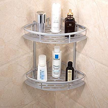 2 layer aluminium bathroom corner rack