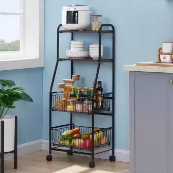 4 tier metal kitchen rack rolling utility cart trolley with wooden shelf for microwave oven plate organizer fruit vegetable storage basket