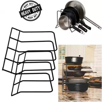 heavy duty durable metal wire frying pan rack kitchen counter pot organizer pod lids bake ware serving trays ceramic crystal tray storage rack