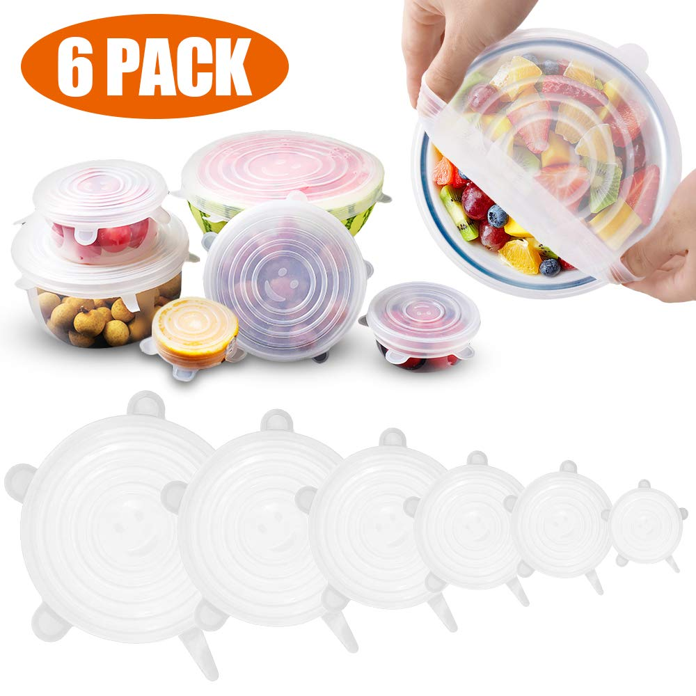 set of 6 pieces microwave safe silicone stretch lids flexible bowl covers