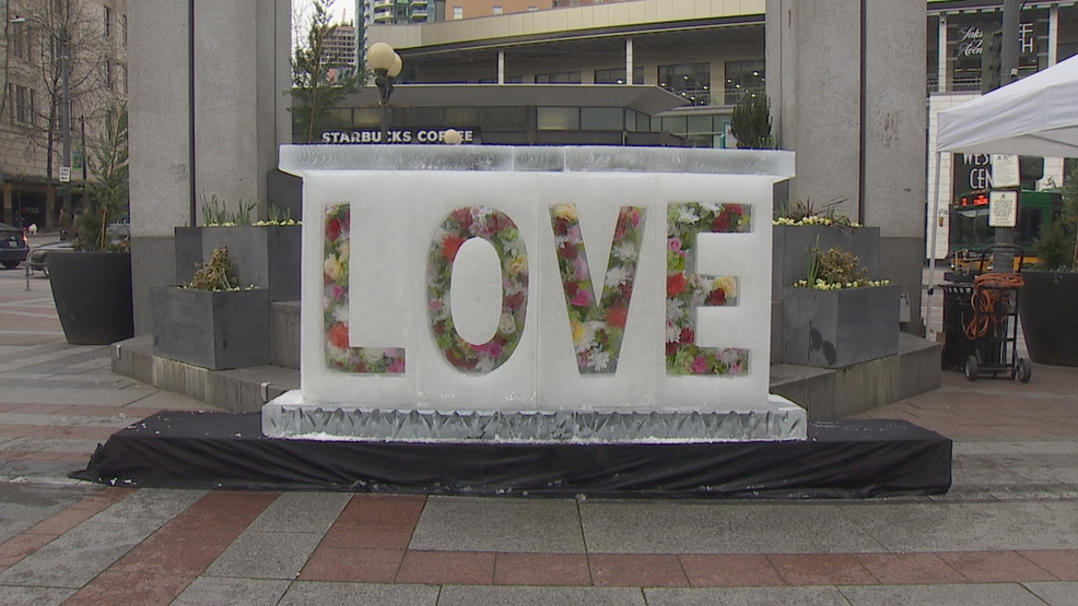 Giant Valentines Day Ice Sculptures Melting Hearts In