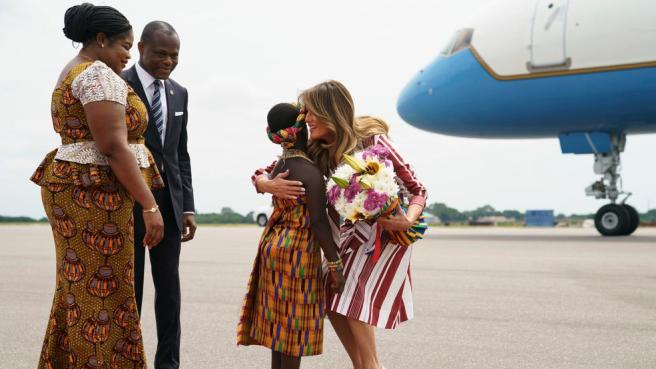 Image result for Melania Trump touches arrives in Accra