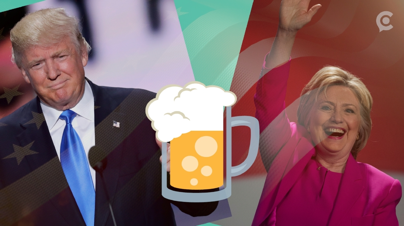 Image result for donald trump vs hillary clinton beer