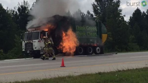 Watch: Trash truck explodes after catching fire on I-675 ...