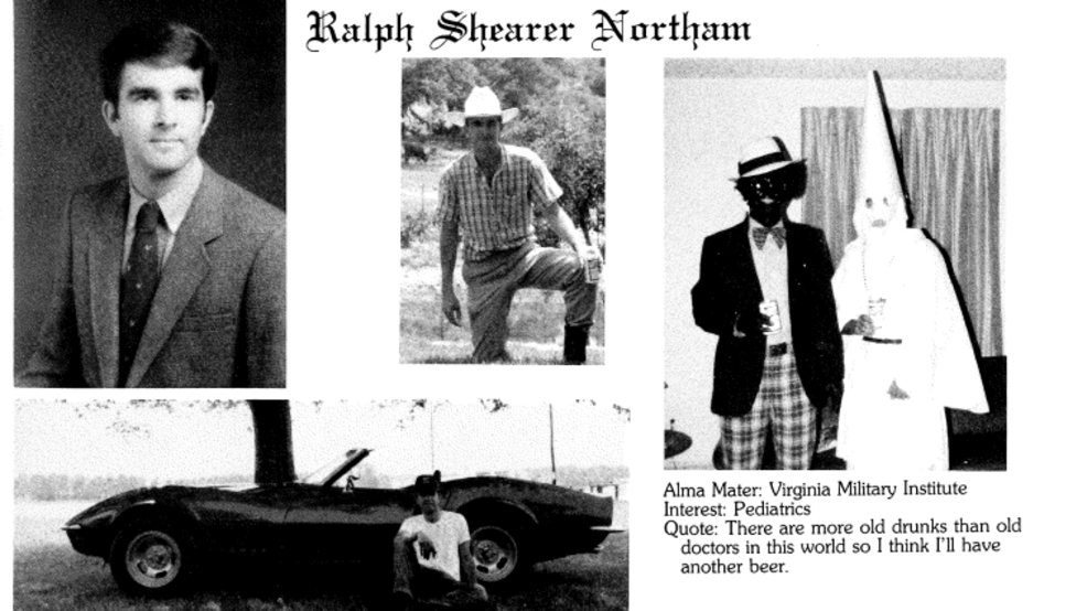 Image result for images of photo ralph northam with blackface next to a man of KKK
