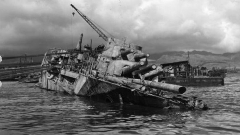 Remains of lost Pearl Harbor sailor identified as Virginia man   KDBC This archival photo shows salvage operations on the battleship Oklahoma   which was sunk during the Pearl Harbor attack  This is a view of the  starboard bow