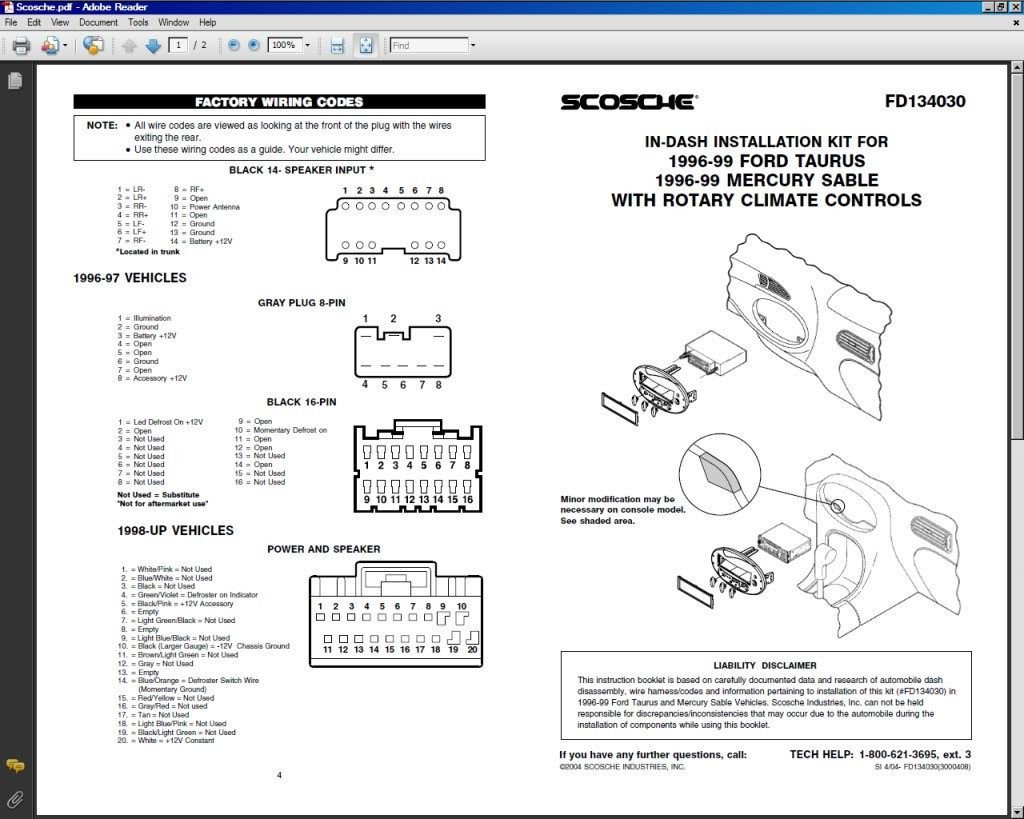 Ford Taurus Stereo Wiring Diagram