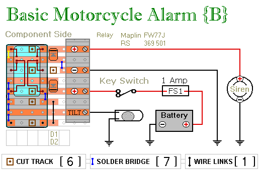 lf7423 two simple relay based motorcycle alarms free diagram