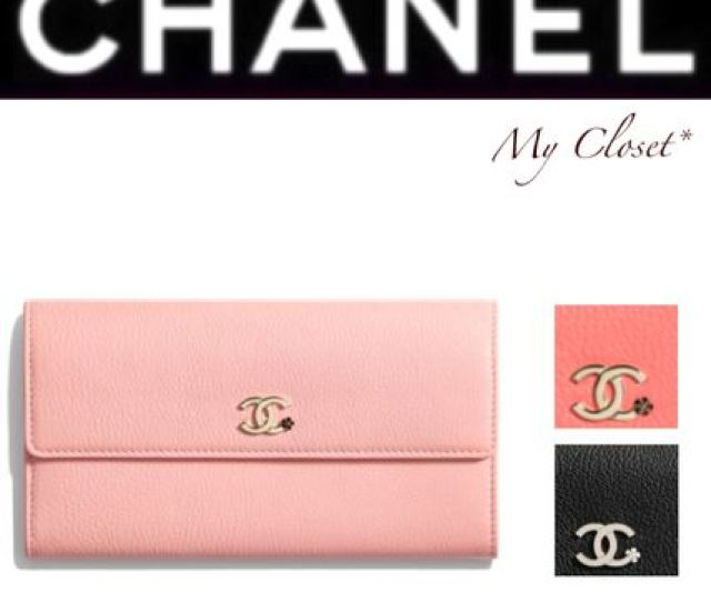 Chanel Folding Wallets Flower Patterns Studded Street Style Plain Leather