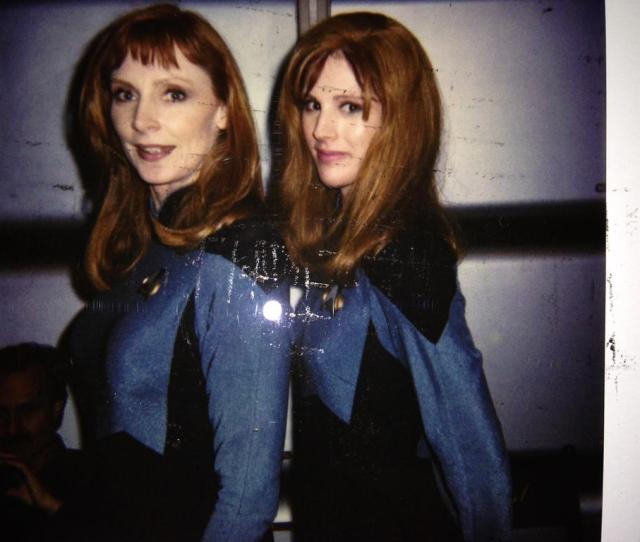 Gates Mcfadden And Her Stunt Double Patricia Tallman On The Set Of Star Trek Tng
