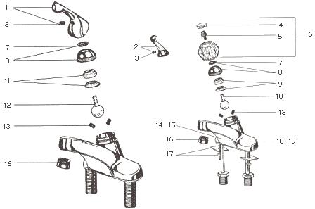 delta one handle bathroom faucet parts