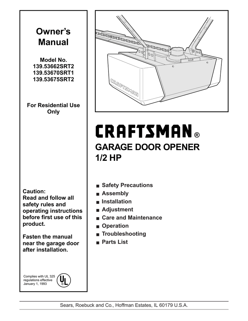 Craftsman Garage Door Opener 1 2 Hp Chain Drive