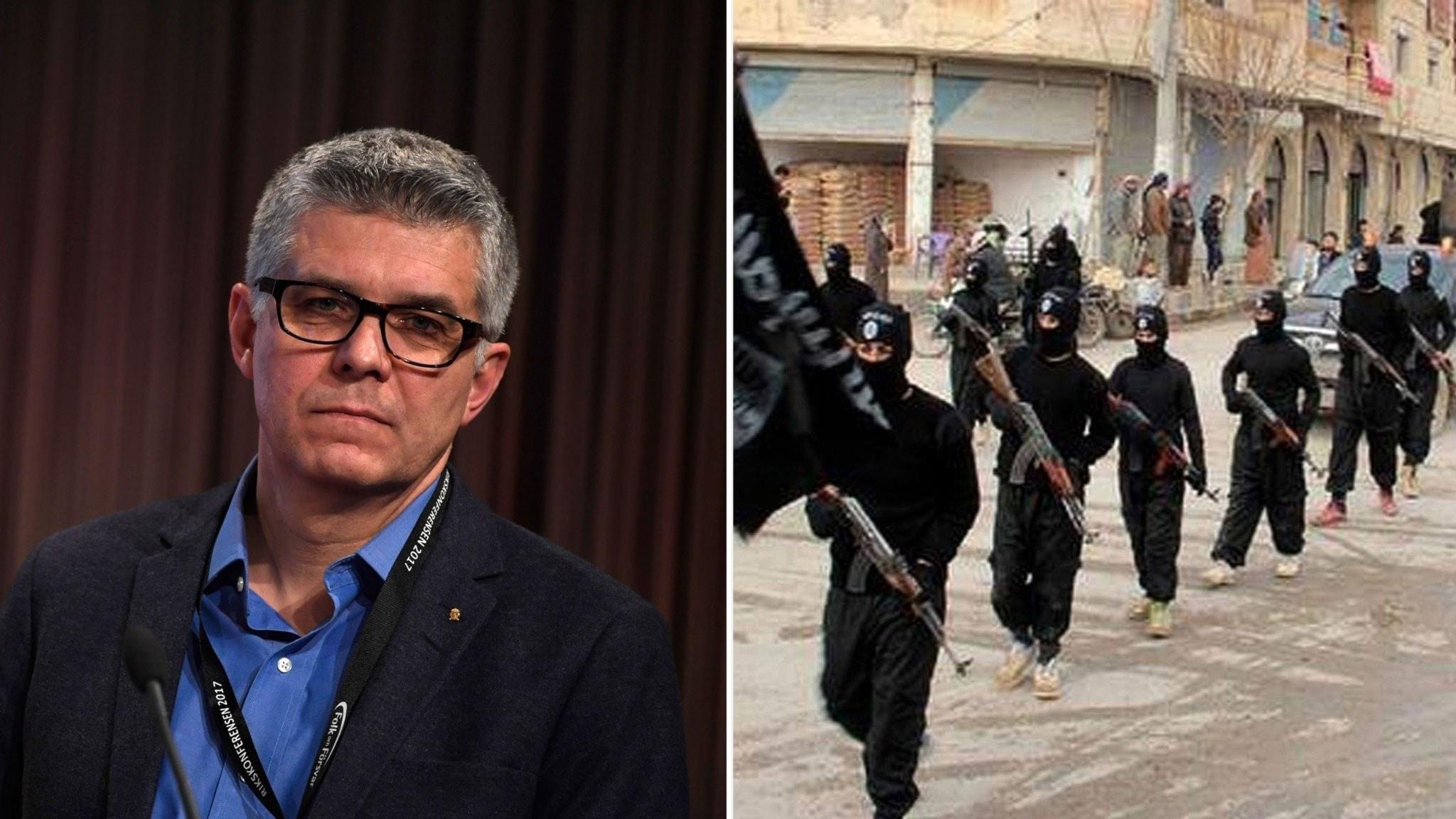 Anders Thornberg, generaldirektör och chef Säkerhetspolisen. Medlemmar till terrorgruppen IS går på en gata.