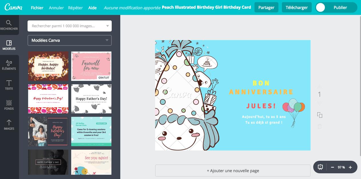 carte d anniversaire d enfant gratuite
