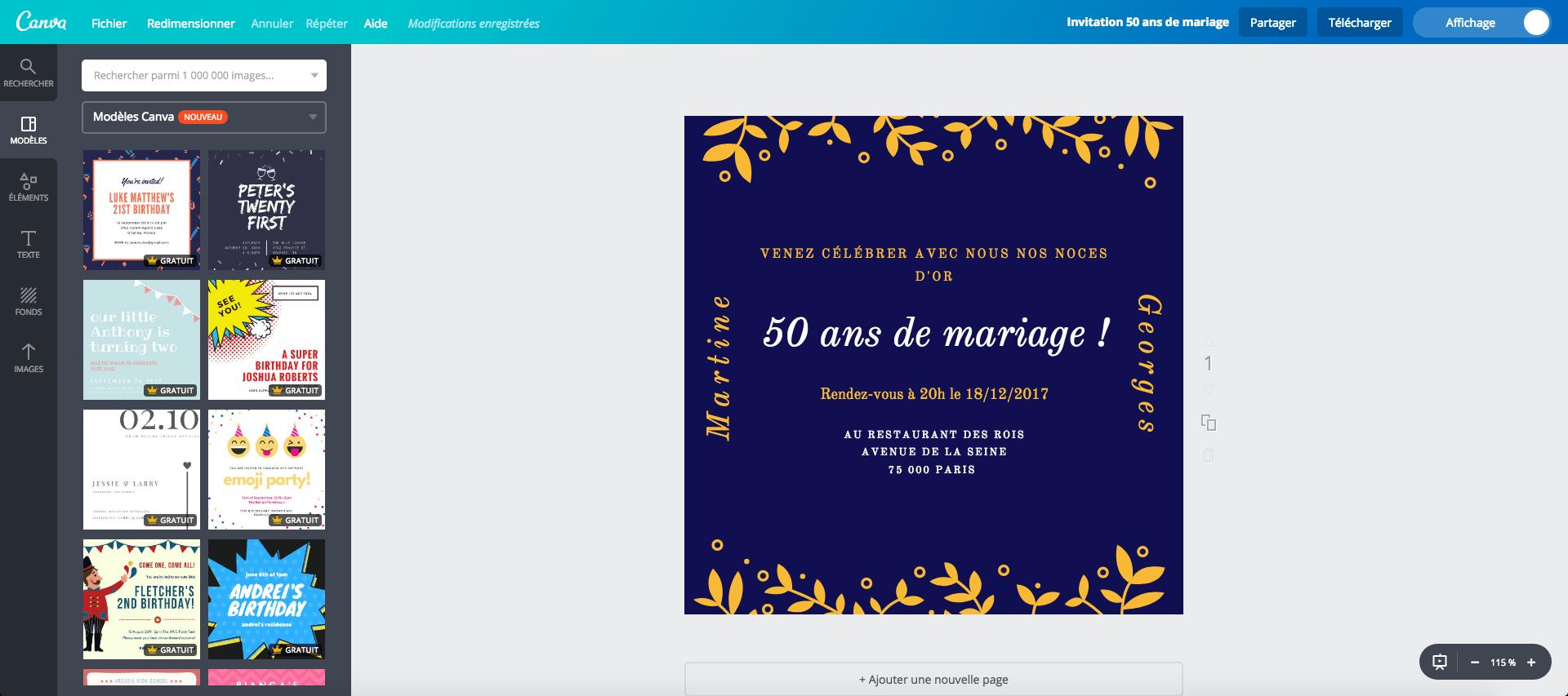 50 ans de mariage gratuite a imprimer