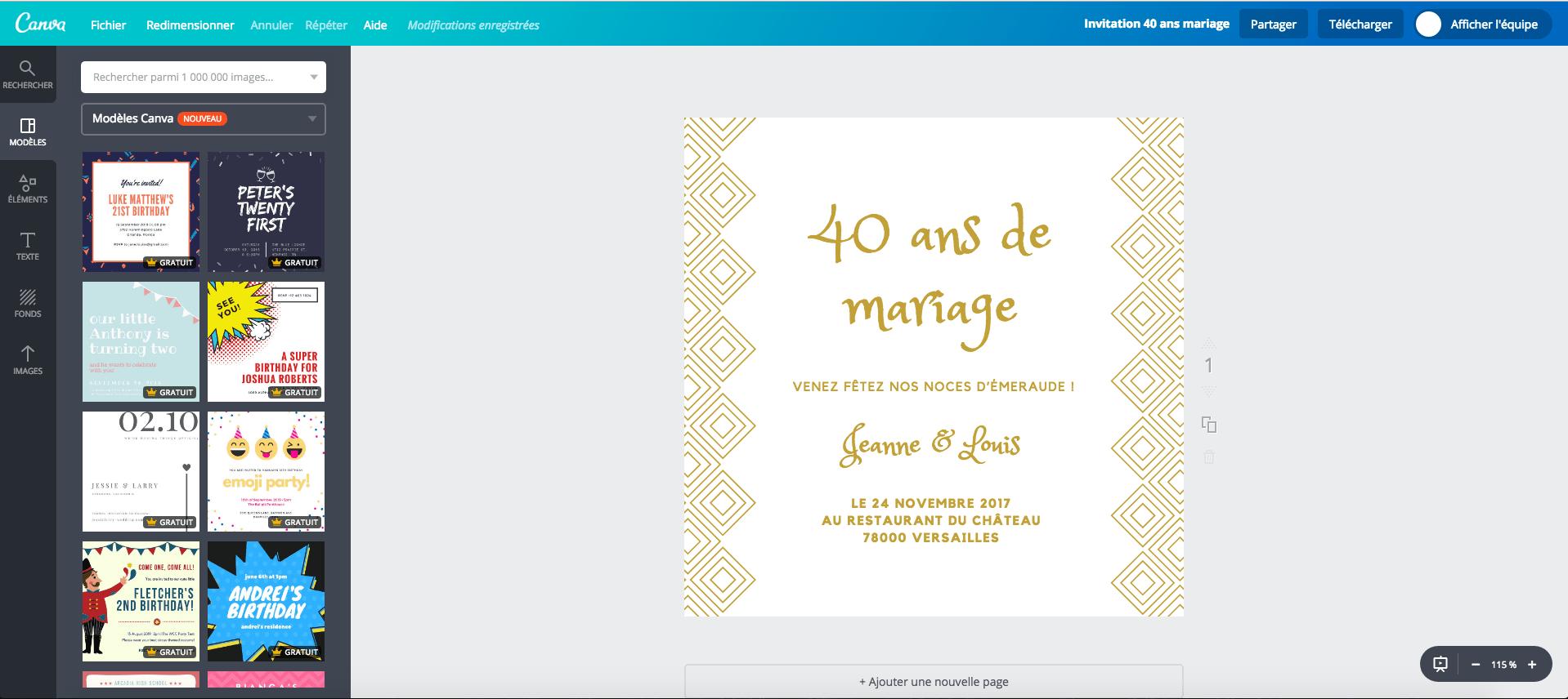 de mariage 40 ans