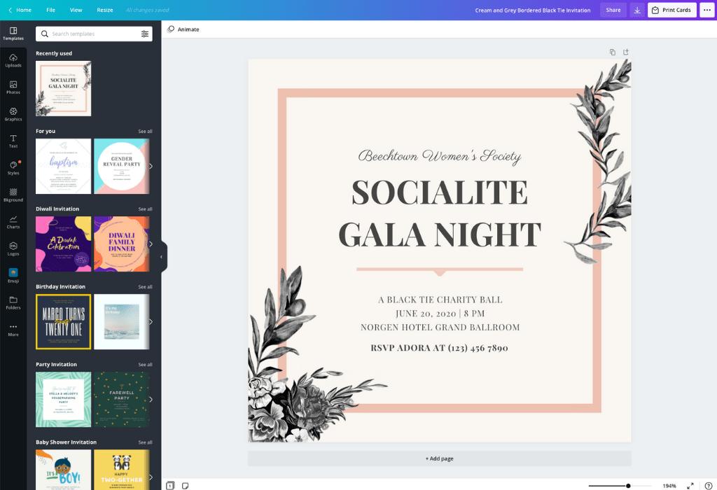 design your own custom invitation cards