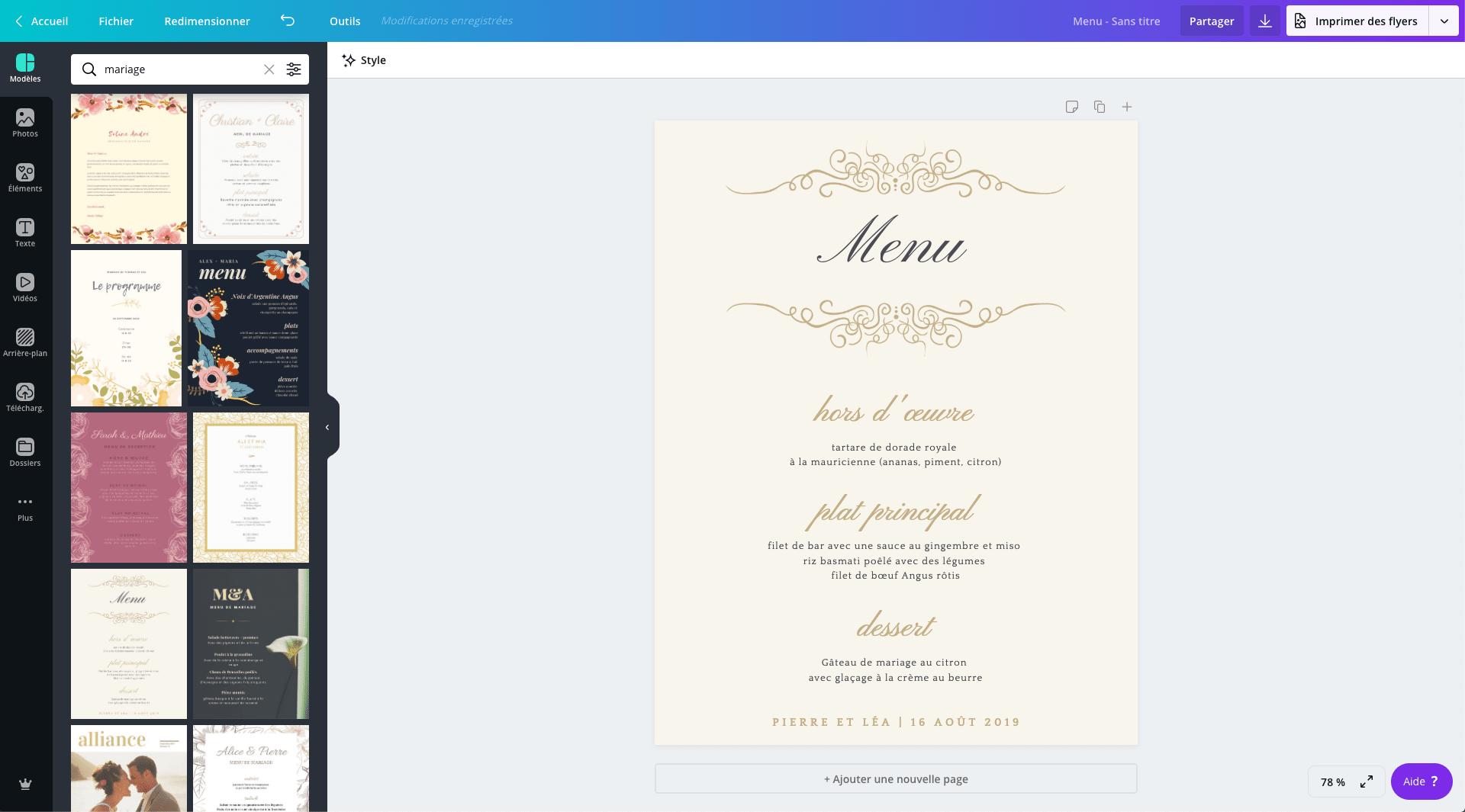 carte de menu de mariage gratuit a
