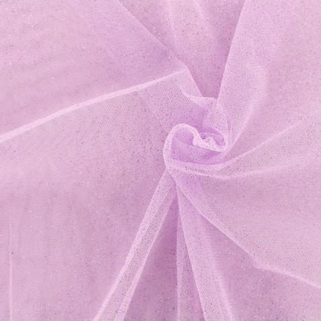 tissu tulle paillete princesse lilas x10cm