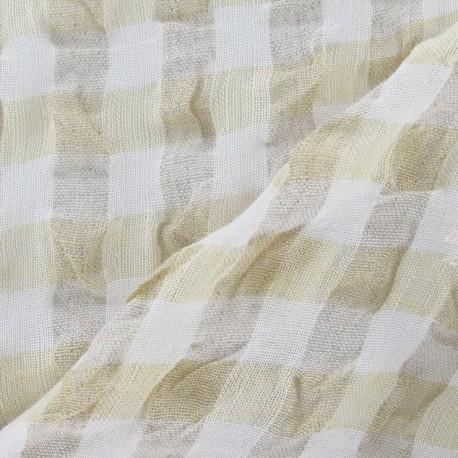 tissu lin vichy gaufre jaune pale x 10cm