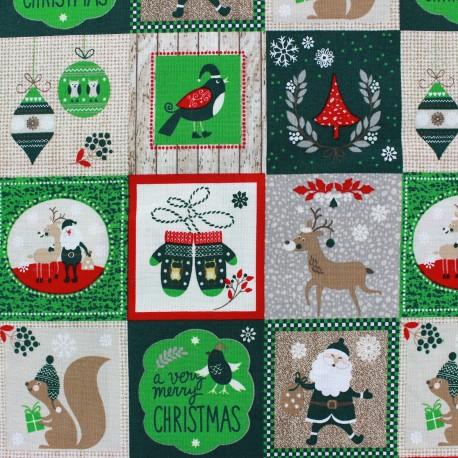 tissu noel christmas patchwork vert x 63cm