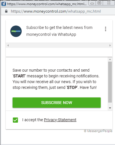 Moenycontrol alerts on WhatsApp.