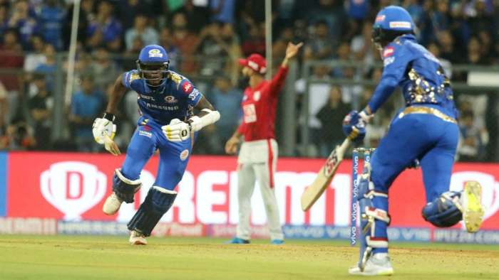 Alzarri Joseph and Rahul Chahar held their nerve to help Mumbai pull off a spectacular victory in a thrilling finish which stretched to 2 required off the final delivery. The victory sparked wild celebrations all over the stadium and Mumbai leapfrogged Punjab on the points table to move up to third spot. (Image: BCCI, iplt20.com)