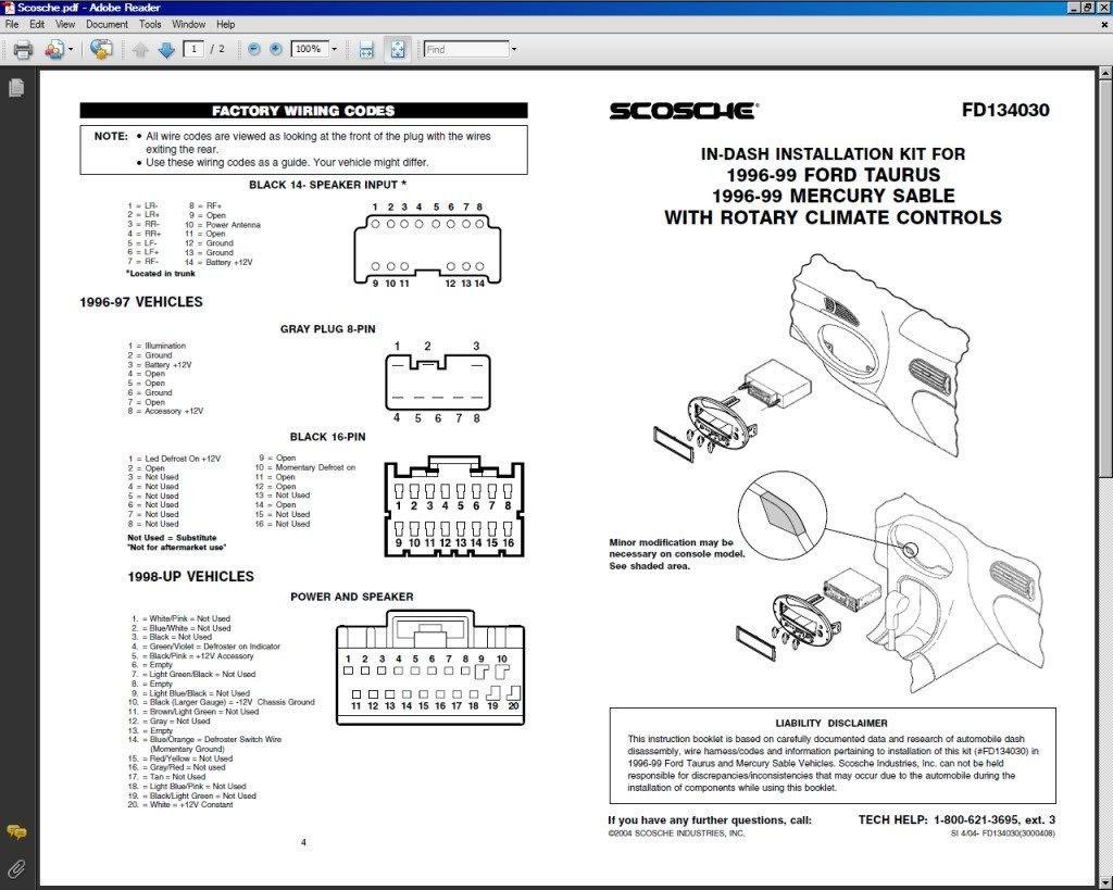 Radio Wiring Diagram Ford Taurus
