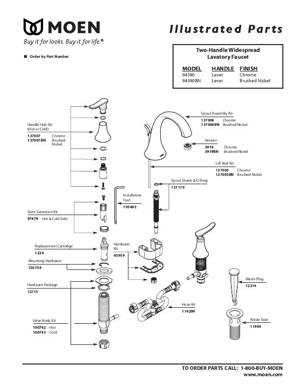 moen bathroom sink replacement parts