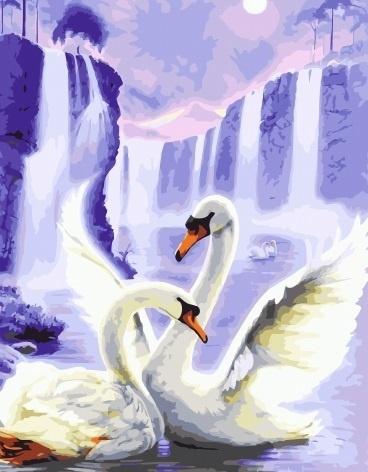 Картина раскраска по номерам 40x50 Белые лебеди на фоне ...