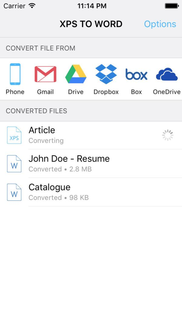 XPS to Word Converter - Convert XPS files to Word App ...