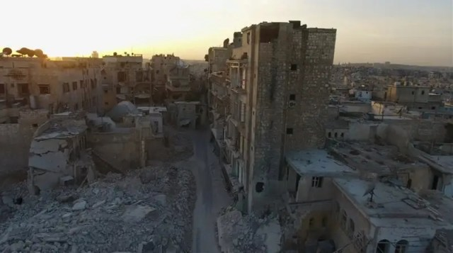 A still image from video taken October 12, 2016 of a general view of the bomb damaged Old City area of Aleppo, Syria.    REUTERS/via ReutersTV