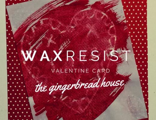 wax resist Valentine card