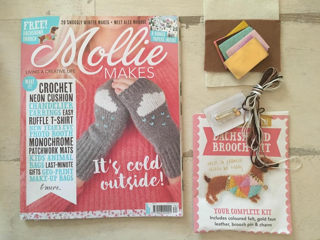 Issue 74 Mollie Makes Dachshund Brooch Kit