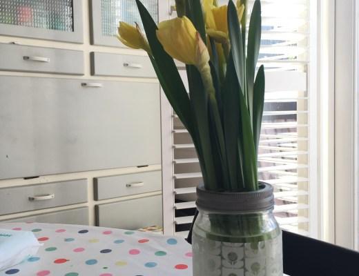 Upcycled Orla Kiely flower vase tutorial
