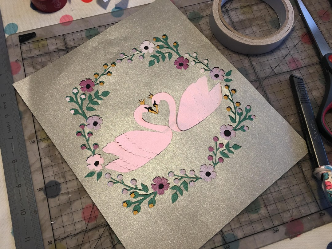 Layered swan papercut for Valentine's Day