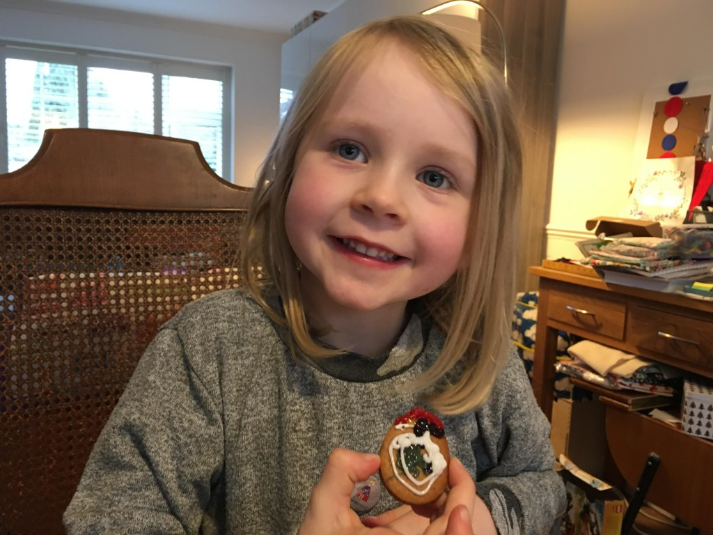 Baking gingerbread Easter biscuits with kids