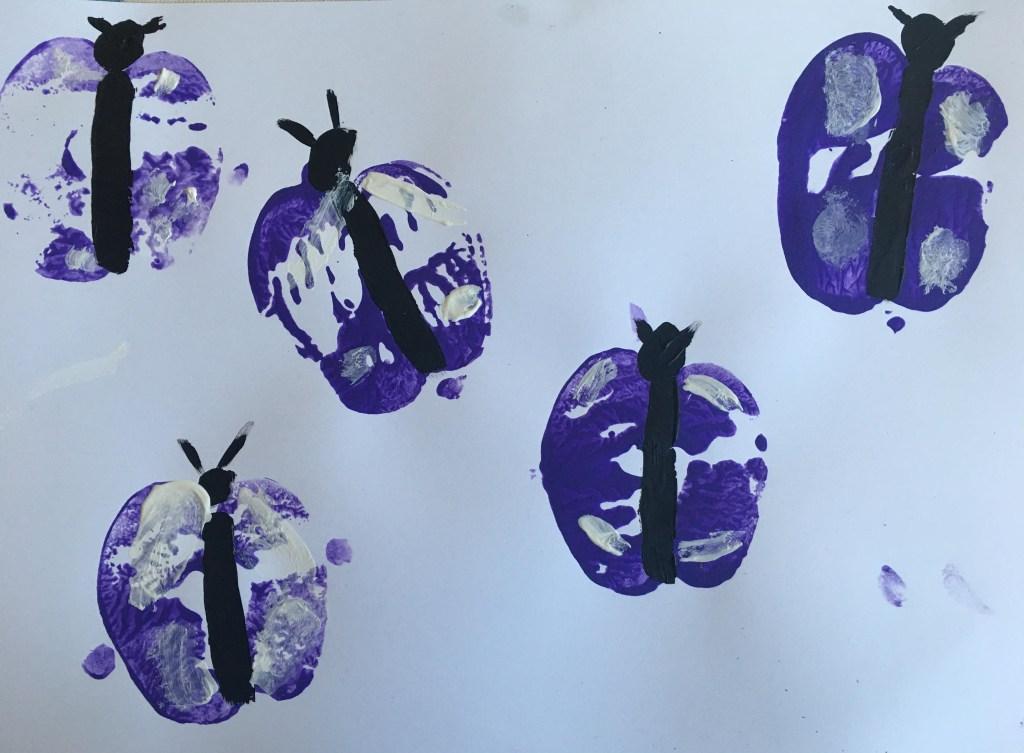 apple print butterflies craft for kids