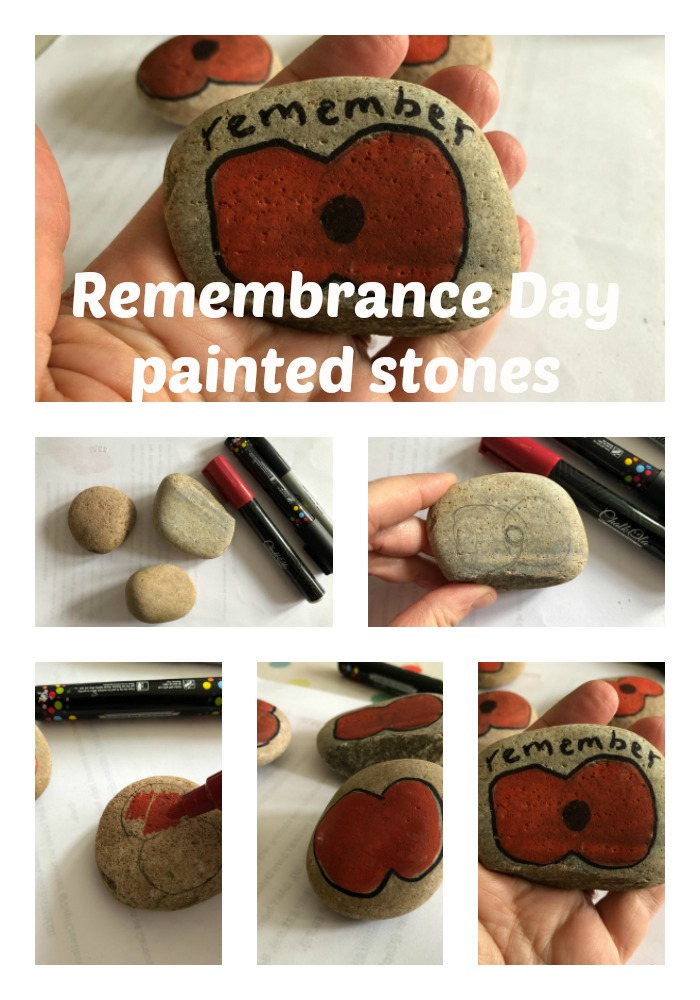 Remembrance Day painted stones tutorial